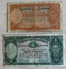 Australia Banknotes, 1 pound 1942, 10 Shillings 1954-60, King George Vi