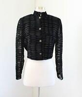 Vtg 90s Joseph Ribkoff Creations Black Burnout Velvet Cropped Bolero Jacket Sz 8