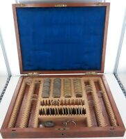 .ANTIQUE TRAVELLING OPTICIANS OPTOMETRIST WOODEN CASE, OVER 200 SLOTS + LENSES