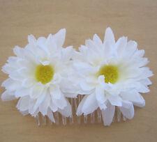 Double White  Daisy Silk Flower Hair Comb,Wedding,Luau,Dance,Prom,Bridal