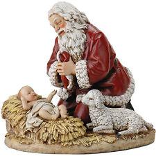 "New 9"" Kneeling Santa Christmas Statue Gift Xmas St Nick Chris Cringle Baby Lamb"