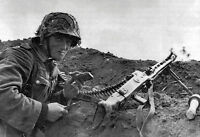 B&W WW2 Photo WWII German Soldier MG42 Position World War Two Wehrmacht Germany