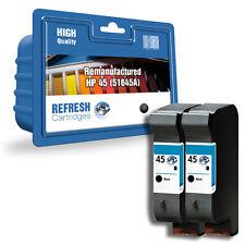 2 x nero rifabbricato HP DESIGNJET Cartucce d'inchiostro ad alta capacità HP 45