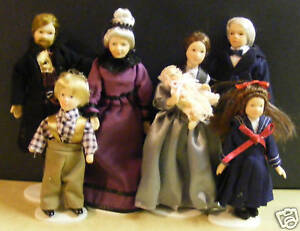 1:12 Scale Family Of 7 Victorian People Tumdee Dolls House Nursery Accessory 090