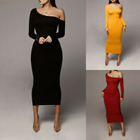 Women Sexy Long Sleeve One-Shoulder Solid Oblique Collar Daily Sheath Long Dress