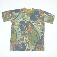 Vtg 90s Boat & Beach T-Shirt All Over Paisley Print Faded Single Stitch Grunge
