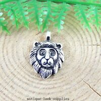 40pcs Antique Silver Alloy Lion Head Charms Pendants Jewellery Findings 51396