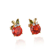 18K Gold Filled Big Apple Ruby Fashion Stud Earrings Luck Ear Ring