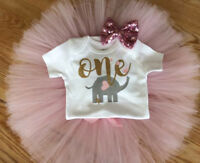 US 3PCS Baby Girl 1st Birthday Outfit Party Cartoon Romper Cake Smash Tutu Dress