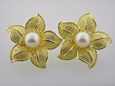 14k Solid Yellow Gold Akoya Pearl Diamonds Flower Earrings