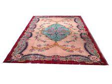 "9'2""x5'6""  Vintage aqua red peach pink oushak vintage rug carpet tapis teppich"