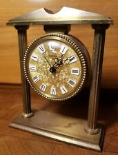 "Vintage Swiza ""8"" Swiss Made Brass Mechanical Alarm Desk Clock"