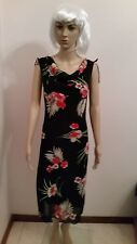 FULLY LINED BLACK FLORAL PRINTED DRESS ~ SIZE S