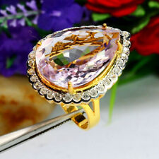 NATURAL 18 X 25 mm. PEAR PINK AMETHYST & WHITE ZIRCON CAMBODIA RING 925 SILVER