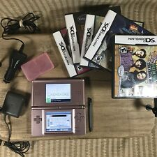 Nintendo DS Lite Metallic Rose w/ 5 Games & Chargers Lot of 9 - Read Description