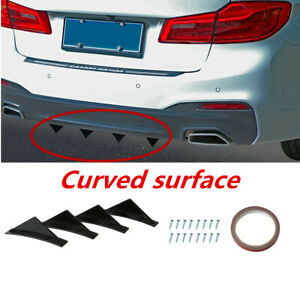 4 Pcs Triangle Mini Spoiler Accessories Curved Surface Fit For Car Rear Bumper