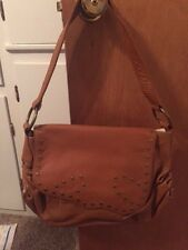 NEW Chi by Carlos Falchi Genuine Lambskin Leather Satchel Brown NWOT