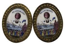Historical 18th C Jean Pierre Blanchard Hot Air Balloon Bilston Enamel Tiebacks
