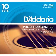 D'ADDARIO EJ16-10P LIGHT GAUGE PHOSPHOR BRONZE ACOUSTIC GUITAR STRINGS, 10 PACK