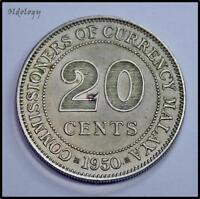 Malaya 20 Cents Coin~1950 George VI~Copper Nickel 5.6g~KM#9~XF~#527