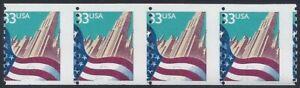 "3280 - 33c Misperf Strip 4 ""Flag And City"" Mint NH"