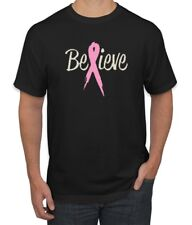 Believe Distressed Pink Ribbon Cancer Awareness Mens Tshirt