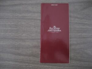 THE.  REGISTRY  HOTEL   DIRECTORY from  1985