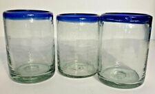 Hand Blown Mexican Artisan Juice/ Rock Glasses Clear/Cobalt Blue Rim~ Set of 3