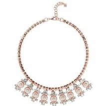 TED BAKER London NWT $115 Orah Rose Gold Tone Pearl Droplet Statement Necklace