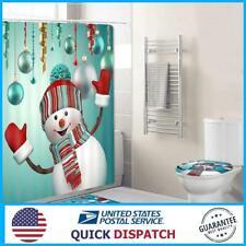 4Pcs Christmas Snowman Non-Slip Rug Pad Toilet Cover Bath Mat Shower Curtain