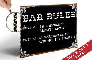 A4 THICK POSTER * BAR RULES BARTENDER IS ALWAYS RIGHT Retro Vintage Pub Wall Art