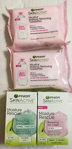 LOT OF 4 - GARNIER SkinActive Facial Care ( 2 Moisturizer + 2 Towelettes)