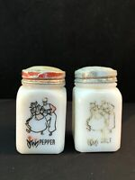 Milk Glass Salt & Pepper Shaker with Red and Black Dancing Dutch Couple Design