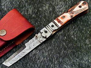 STUNNING CUSTOM HANDMADE DAMASCUS STEEL POCKET FOLDING KNIFE LINER LOCK WD-8408
