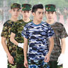 Mens Camouflage T-Shirt Short Sleeve Tee Army Uniform Shirts Fitness Tops Summer