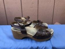 Dansko Sissy Leather Straps Sandals Shoes Women's 37 US 6.5-7 Brown A5