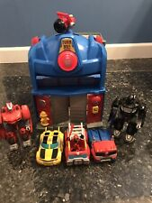 Transformers Rescue Bots LOT PRIME FIRE STATION Lights+Sounds TESTED/WORKS!!!