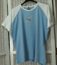 """NORTH FACE T-Shirt Top XL 44"""" Bust Women's Raglan Butterfly Tee Light Blue White"""