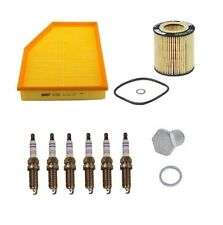 BMW E60 E61 Tune Up Kit with Air Filter Oil Filter Spark Plugs and Drain Plug