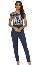 Little Mistress Crochet Detail Jumpsuit Navy Size 14 Stunning Flattering Style