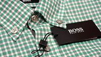 NWT $145 Hugo Boss Slim Fit Roddy Green Plaid Shirt Mens M L XL Short Sleeve NEW