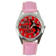 ELVIS PRESLEY WATCH Stainless LEATHER MUSIC KING LEGEND ROUND PINK BAND WATCH E6
