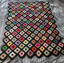 Vintage Granny Square Black Afghan Crochet Throw Blanket Handmade