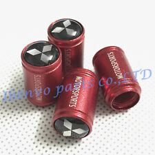 Aluminum Red Matting Car Auto Wheel Tyre Tire Stem Air Valve Cap For MITSUBISHI