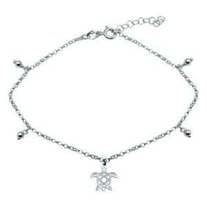 """NWT Sterling Silver 925 Rhodium Plated Turtle Charm Dangle 9""""-10"""" Adjust Anklet"""
