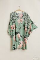 Umgee Sage Green Floral Print V Neck Dress with Flowy Kimono Sleeves S M L