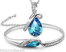 Silver Plated Blue Tear Drop Diamante Bracelet Necklace Jewellery Set Teardrop