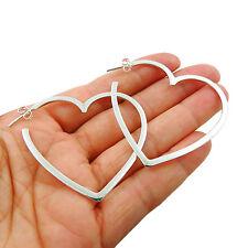Love Heart Hoops 925 Sterling Silver Hoop Earrings