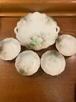 Antique Vintage RS Prussia Serving Bowl / Plate Set 4 Dessert Bowls Ivory Floral