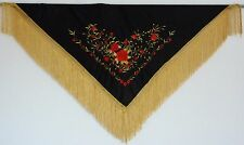 New Spanish Flamenco Shawl - Black with Red & Gold Pattern with Gold Fringe